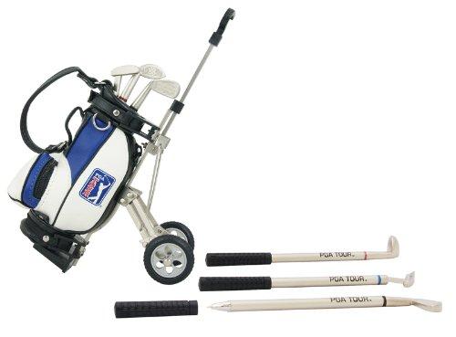 PGA Tour Gadget Desktop Golftasche Und Kugelschreiber Geschenkset Portabolígrafos en Forma de Bolsa de golfy Set de bolígrafos en Estuche de Regalo, Unisex, Plateado, Blanco, Azul