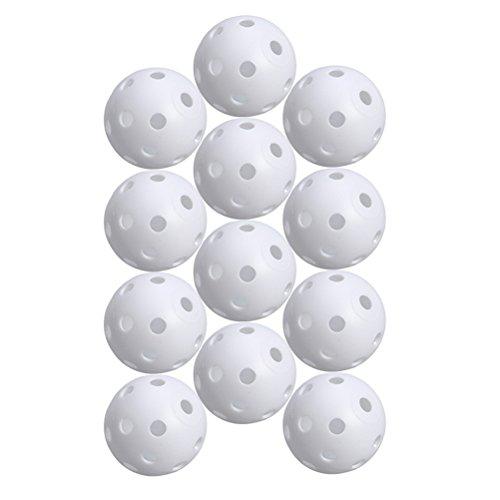 STOBOK 24pcs Bolas de Juego Perforadas Bolas de Deportes de Entrenamiento de práctica de Golf Huecas (Blanco)