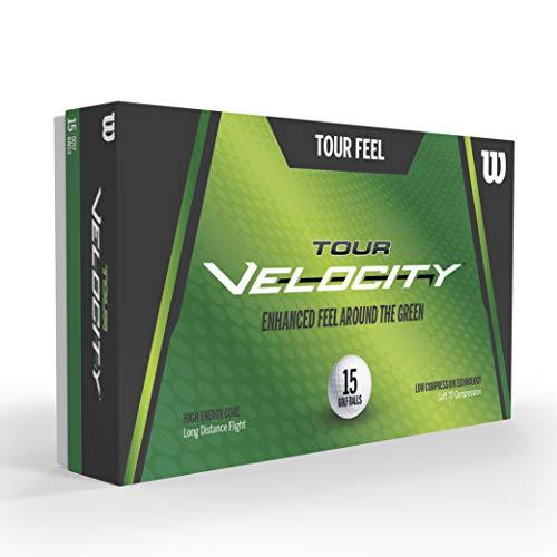 Wilson Golf Tour Velocity Feel, 15 Bolas, Blanco, Compresión 70, Ionómero, Para Sensación de Golpeo Agradable, WGWR75000