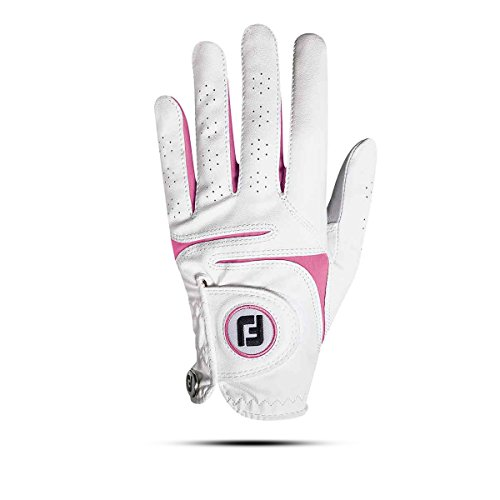 Footjoy Weathersof Guante de Golf, Mujer, Blanco/Rosa, M