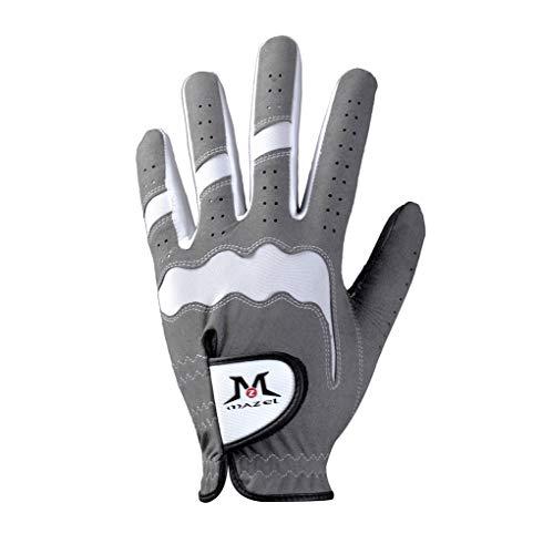 MAZEL Guantes de golf para hombre para golfista todo tipo de clima, lavables para mano izquierda (gris, XL)