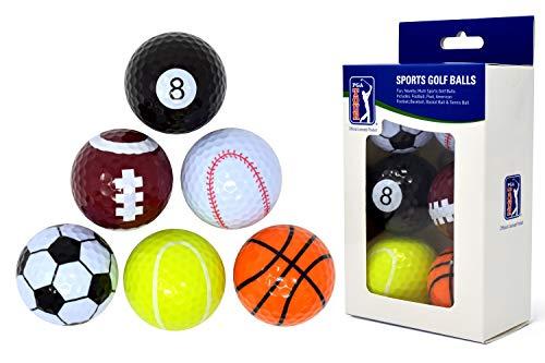 PGA Tour Einzigartige Fun Sport Golfbälle (6er Originales y Divertidas Bolas de Golf y Otros Deportes (Set de 6), Unisex, Multicolor