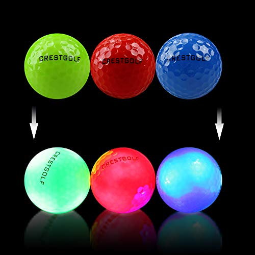 Crestgolf Pelotas de Golf con Brillo LED para la Noche Pelotas de Golf con 4 Luces LED integradas Muy Brillantes Golf de Larga Distancia-3 Piezas