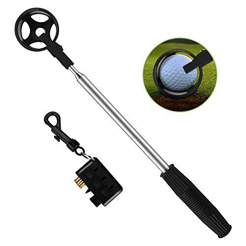 Brynnl Golf Ball Retriever, portátil retráctil Pelota de Golf telescópica Scover Saver con 3 en 1 Bolsillo Golf Club Brush Accesorios Set Juego de Pelota de Golf Recoger el Eje