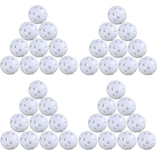 BETOY 24pcs Bolas de formación de Pelotas de Golf Huecas de Flujo de Aire de plástico para el Paquete de práctica de Golf (Blanco)