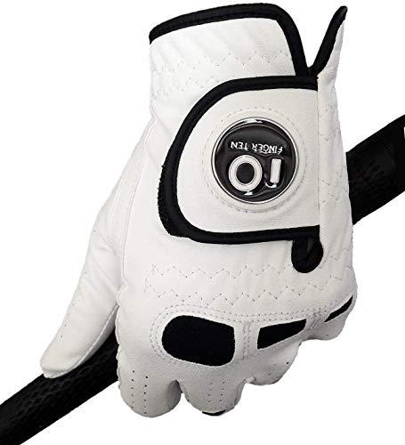 FINGER TEN Guantes de Golf para Hombre de Mano Izquierda Derecha con Marcador de Bola, Paquete de 2, Agarre Suave y cómodo, Talla pequeña, Mediana, Grande, Talla L