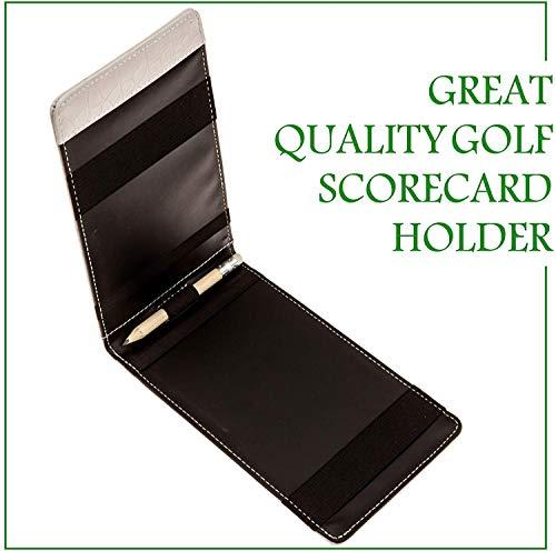 Fuzzy Bunkers Premium - Soporte para Tarjetas de Golf (Piel, tamaño Bolsillo, lápiz de Golf y Hoja de Seguimiento de estadísticas, PDF (descargable) (White)