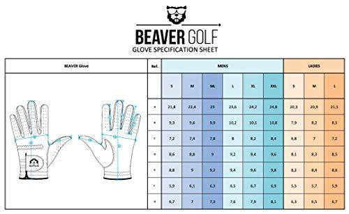 BEAVER GOLF Guante de golf para hombre, color blanco, piel de cabretta, máxima calidad, sostenible, hecho a mano (XXL, izquierda (diestros)