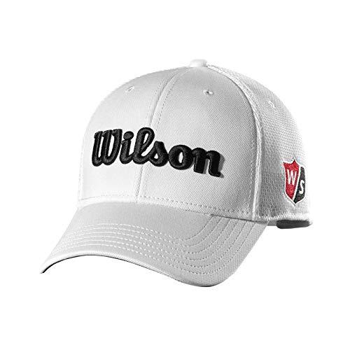 Wilson Staff Tour Mesh Cap Gorra de Golf, para Hombre, ala Curva, tamaño Ajustable, Blanco, OSFA