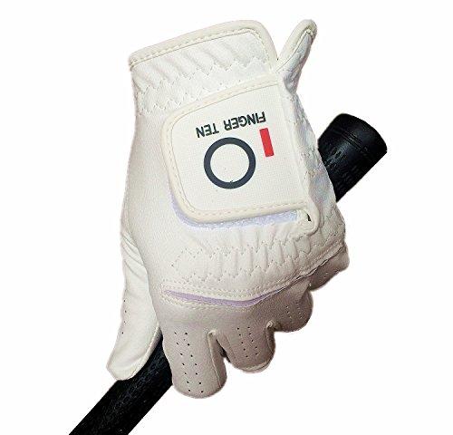 Guantes de golf Finger Ten 2017 de lluvia para hombre, paquete de 3 unidades, todos blancos o negros, para mano izquierda LH duradero, velcro verano, color blanco, tamaño Medium