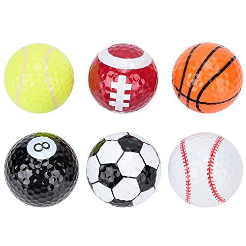 Alomejor 6 Piezas Novedad Pelotas De Golf Baloncesto Fútbol Patrón De Voleibol De Doble Capa Pelotas