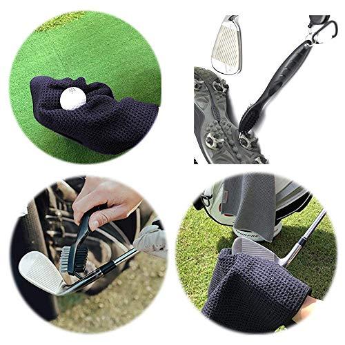 Viilich Kit de Cepillo y Toalla para Palos de Golf, Cepillo para Palos de Golf y Kit de Toallas para gofres, Limpiador de Palos de Golf con Clip de Anillo, para Colgar en Bolsas de Golf