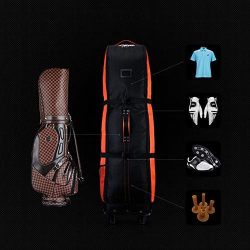 PGM Golf Bolsa de Viaje, con Ruedas – - Doble de la Cubierta, Grueso, Impermeable, Nailon, con Base, Negro