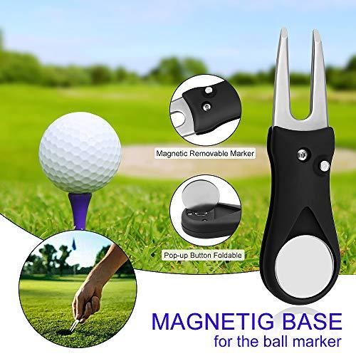 Yotako 2 Pack de toallas de golf de microfibra para bolsas de golf con clip, cepillo limpiador de ranuras, herramienta de reparación de divot de golf con marcador