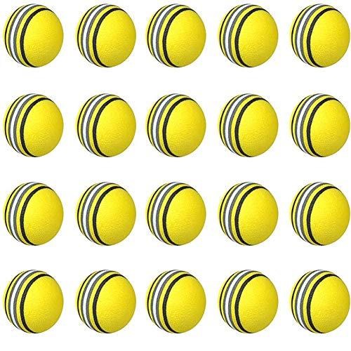 JPYH Práctica Pelotas de Golf, 20 Unidades, Indoor Práctica Esponja Espuma Bolas para Principiantes, niños y Aficionados (Amarillo)