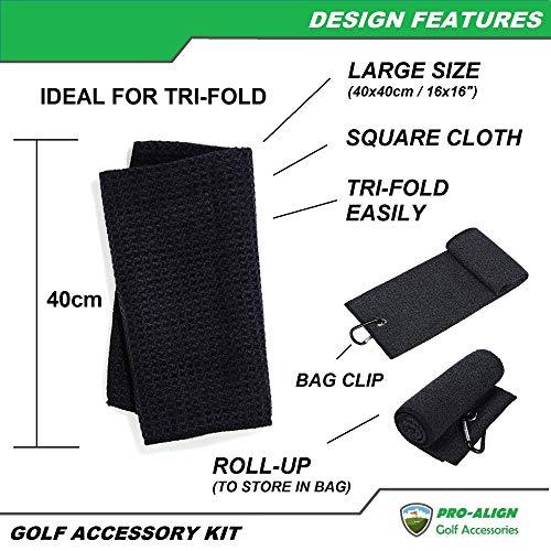 U/ PRO-ALIGN Toalla de golf con patrón de gofres de microfibra   Cepillo limpiador de ranura   Afilador de ranura   Kit de accesorios de golf