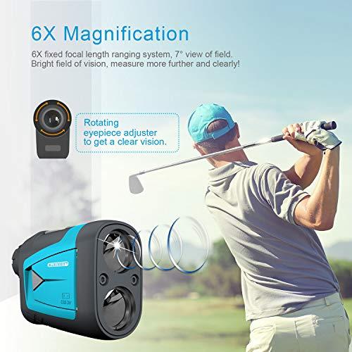 Mileseey Telemetro Golf 660yd/600M, Telémetro Láser Golf con Compensación de Pendiente, Precisión ±0.55yd, Flag-Lock, Aumento 6X, Pin/Range/Speed/Scanning, para Golf/Caza, Senderismo,Bolsa Protectora