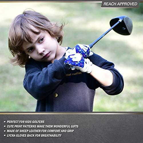 Vgo... Edad 5-6 Niños Guantes de Golf de Lycra Transpirables de Cuero de Oveja Suave (Talla M, Azul/Blanco, GA7990)