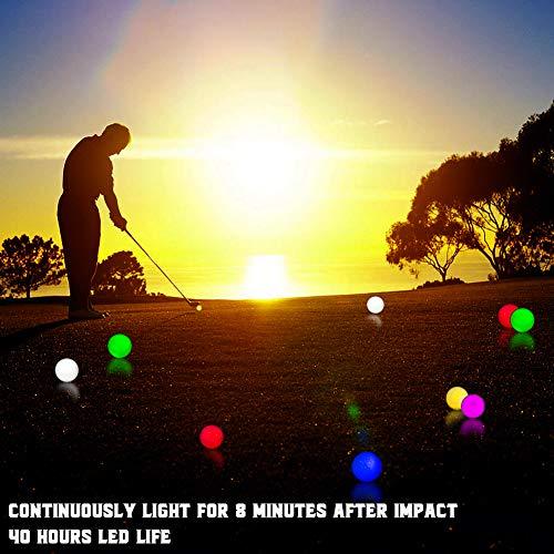 THIODOON Bolas de Golf Luminoso LED de Iluminación de Golf para la Práctica Nocturna de Larga Distancia Brillantes Intermitentes Deportes 6 Colores para su Elección (Paquete de 3: Azul Amarillo Rosa)