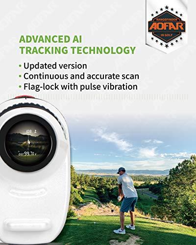 AOFAR GX-2S Telémetro de Golf con Pendiente de On/Off, con Bloqueo de Bandera y Vibración, 600 Yards White Range Finder,Impermeable,Embalaje de Regalo