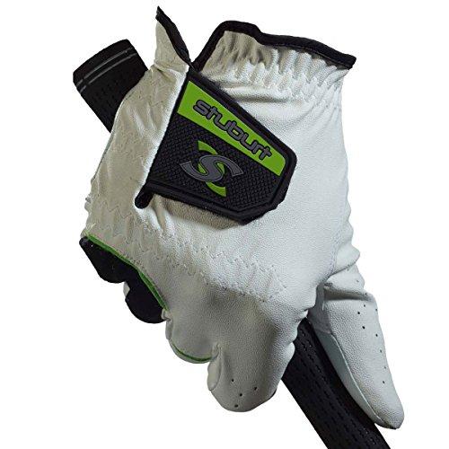 Stuburt Guantes de Golf para Hombre STGLV08 Urban All Weather con cabretta y Piel sintética, Color Blanco/Negro, Mano Derecha para Hombre, tamaño Mediano/Grande