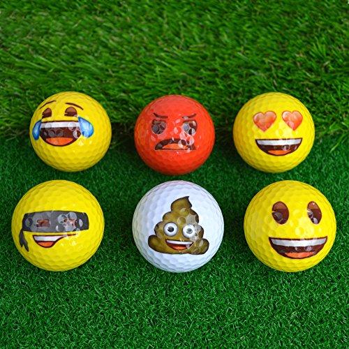 Emoji Oficial diseño Divertido Pelotas de Golf, diseño Divertido Emoji–6Pack