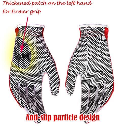 PGM Guantes de golf para mujer, un par, sistema de agarre mejorado, fresco y cómodo (rojo, 19, M)