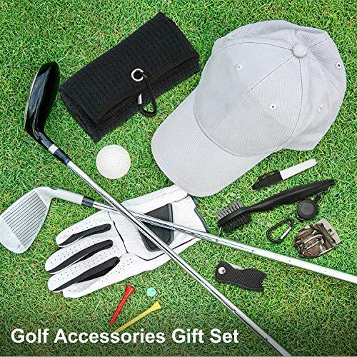 Kit de Herramientas de Limpieza de Golf de 5 Piezas Incluye Toalla de Golf de Microfibra de Patrón Waffle, Cepillo Golf, Forro Pelota Golf, Rotulador Golf y Divot de Golf para Accesorios de Golf